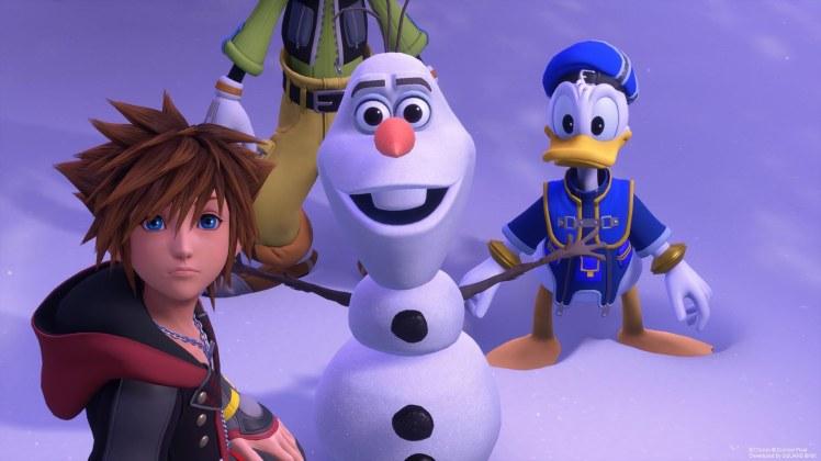 Sora, Paperino e Pippo nel mondo di Frozen