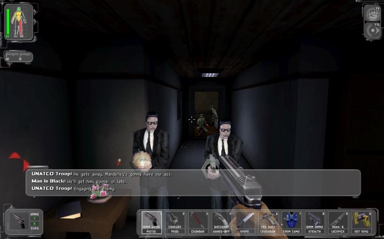 Deus Ex screenshot featuring JC Denton against MIB agents